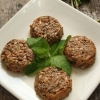 Mini soufflés with lentils, sunflower seeds and fresh mint