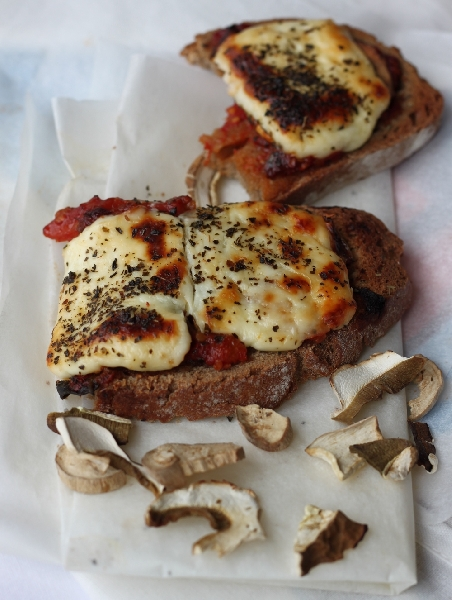 Tartines with Roasted Tomatoes, Wild Mushrooms and Goat Cheese