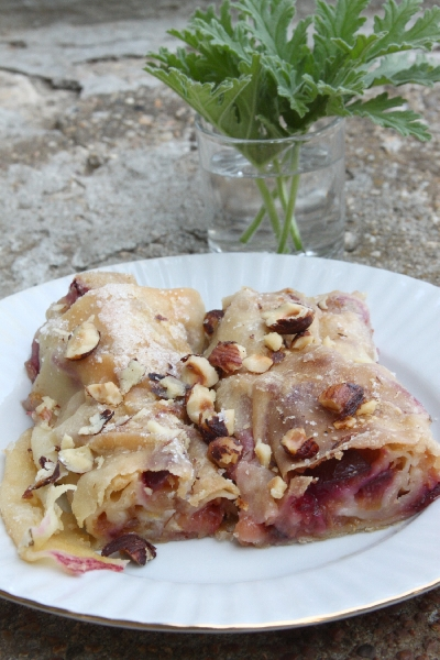 Strudel with Apples, Plums and Geranium Leaves