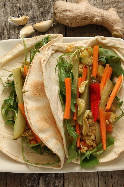 Spicy Vegetarian Wraps with Rice and Lentil